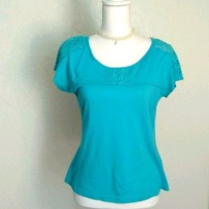 ROBBINS blue tshirt for women with lace